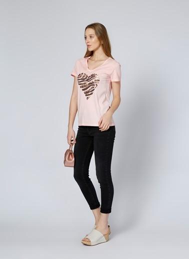 Limon Company V Yaka Kalp Desenli Tişört Somon